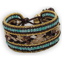Montres & Bijoux Femme Bracelets Blue Pearls Bracelet Jade et Perles Nacré