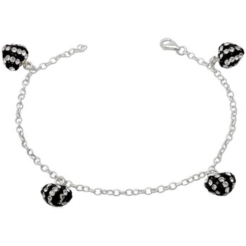 Montres & Bijoux Femme Bracelets Blue Pearls Bracelet C?urs en Cristal Noir et Blanc et Argent 925 Multicolore