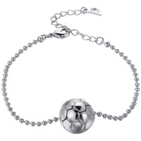 Montres & Bijoux Femme Bracelets Blue Pearls Bracelet Mixte Ballon de Football Plaqué or blanc Multicolore