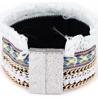 Montres & Bijoux Femme Bracelets Blue Pearls Bracelet à Franges, Coton Noir et Acier Inoxydable Multicolore
