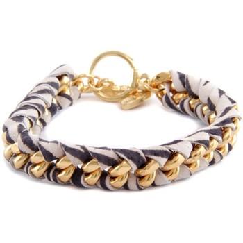 Montres & Bijoux Femme Bracelets Blue Pearls Ettika - Bracelet Zèbre en Or Jaune et Coton Rubans Tressés Impr Multicolore