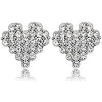 Montres & Bijoux Femme Boucles d'oreilles Blue Pearls Boucles d'Oreilles Coeur ornées de Cristal blanc de Swarovski Multicolore