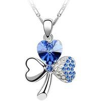 Montres & Bijoux Femme Pendentifs Blue Pearls Collier Trèfle à 3 feuilles orné de Cristal bleu de Swarovski Bleu