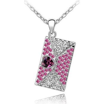 Montres & Bijoux Femme Pendentifs Blue Pearls Pendentif Lettre d'Amour orné de Cristal rose de Swarovski Rose
