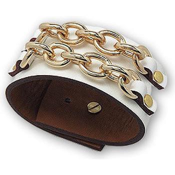 Montres & Bijoux Femme Bracelets Blue Pearls Bracelet Maillons en Cuir Blanc et Acier Or Multicolore