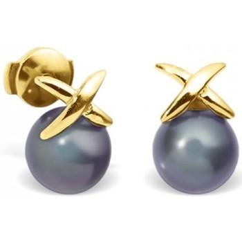 Montres & Bijoux Femme Boucles d'oreilles Blue Pearls Boucles d'Oreilles Perles de Culture Noires et or jaune 750/1000 Multicolore
