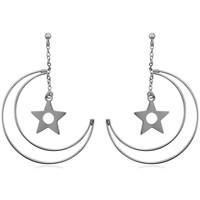 Montres & Bijoux Femme Boucles d'oreilles Blue Pearls Boucles d'oreilles Pendantes Lune et Etoile en Argent 925 Autres