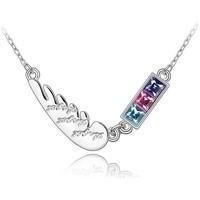 Montres & Bijoux Femme Colliers / Sautoirs Blue Pearls Collier Plume en Cristal de Swarovski Elements Autres