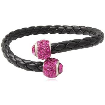 Montres & Bijoux Femme Bracelets Blue Pearls Bracelet Bangle en Cuir Noir, Perle en Cristal Rose et Argent 92 Multicolore