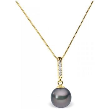 Montres & Bijoux Femme Colliers / Sautoirs Blue Pearls Collier Pendentif Perle de Culture d'eau douce Noire, Diamants e Multicolore