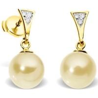 Montres & Bijoux Femme Boucles d'oreilles Blue Pearls Boucles d'Oreilles Perles de Culture Dorées, Diamants et Or Jaun Multicolore