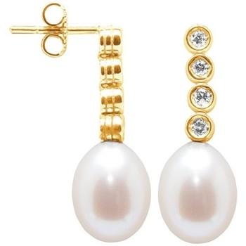 Montres & Bijoux Femme Boucles d'oreilles Blue Pearls Boucles d'Oreilles Perles de Culture Blanches, Diamants et Or Ja Multicolore