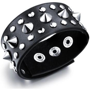 Montres & Bijoux Femme Bracelets Blue Pearls Bracelet Homme Punk en Cuir noir et acier Inoxydable Multicolore