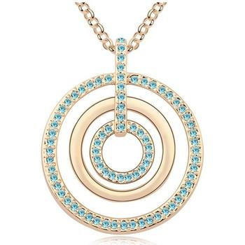 Montres & Bijoux Femme Colliers / Sautoirs Blue Pearls Collier Sautoir Cercles en Cristal de Swarovski Element Bleu et Multicolore