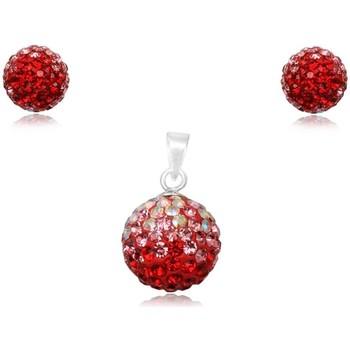 Montres & Bijoux Femme Parures Blue Pearls Parure Pendentif et Boucles d'Oreilles en Cristal Rouge et Argen Multicolore