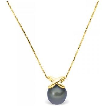 Montres & Bijoux Femme Colliers / Sautoirs Blue Pearls Collier en Or Jaune 375/1000 et Perle de Culture Noire Multicolore