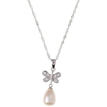 Montres & Bijoux Femme Pendentifs Blue Pearls Pendentif Femme Papillon Perle de culture d'eau douce et Argent Blanc