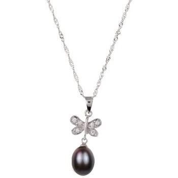Montres & Bijoux Femme Pendentifs Blue Pearls Pendentif Femme Papillon Perle de culture d'eau douce et Argent Noir