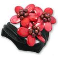 Blue Pearls Bracelet 3 Fleurs en Nacre et Perles Rouges et Cuir Noir