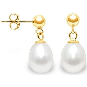 Montres & Bijoux Femme Boucles d'oreilles Blue Pearls Boucles d'Oreilles Perles de Culture Blanches et or jaune 750/10 Multicolore