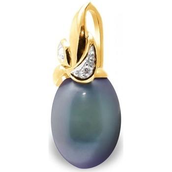 Montres & Bijoux Femme Pendentifs Blue Pearls Pendentif Perle de Culture d'eau douce Noire, Diamants et Or Jau Multicolore