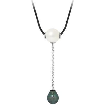 Montres & Bijoux Femme Colliers / Sautoirs Blue Pearls Collier Femme en Coton noir, Perle de Tahiti et Perle de Culture Multicolore