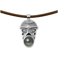 Montres & Bijoux Femme Colliers / Sautoirs Blue Pearls Collier Homme Tribal en Cuir, Perle de Tahiti et Argent Massif 9 Vert