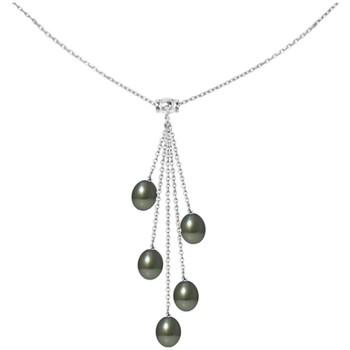 Montres & Bijoux Femme Colliers / Sautoirs Blue Pearls Collier Femme en Argent Massif 925 et 5 Perles de Tahiti Multicolore