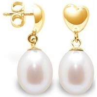 Montres & Bijoux Femme Boucles d'oreilles Blue Pearls Boucles d'Oreilles Coeurs Pendantes Perles de Culture Blanches e Multicolore
