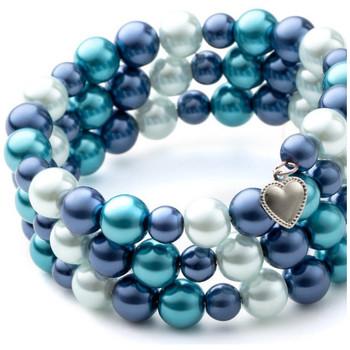 Montres & Bijoux Femme Bracelets Blue Pearls Bracelet 3 Rangs en Perles Bleues et Plaqué Rhodium Multicolore
