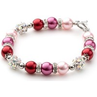 Montres & Bijoux Femme Bracelets Blue Pearls Bracelet 1 Rang en Perles Roses, Cristal et Plaqué Rhodium Multicolore