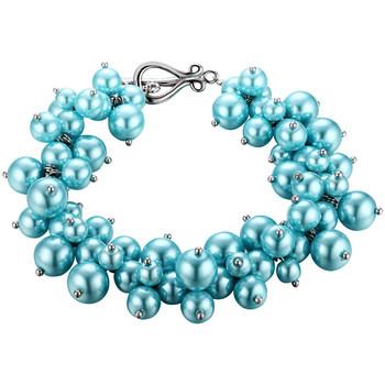 Montres & Bijoux Femme Bracelets Blue Pearls Bracelet Multi Perles Bleu Ciel et Plaqué Rhodium Multicolore