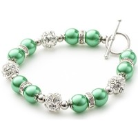 Montres & Bijoux Femme Bracelets Blue Pearls Bracelet 1 Rang en Perles Vertes, Cristal et Plaqué Rhodium Multicolore