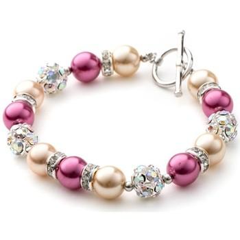 Montres & Bijoux Femme Bracelets Blue Pearls Bracelet 1 Rang en Perles Orange et Rose, Cristal et Plaqué Rhod Multicolore