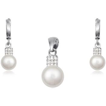 Montres & Bijoux Femme Parures Blue Pearls Parure Pendentif et Boucles d'Oreilles Perles Pierres Cz et Arge Multicolore