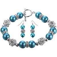 Montres & Bijoux Femme Parures Blue Pearls Parure Bracelet et Boucles d'oreilles Perles Bleues, Cristal et Multicolore