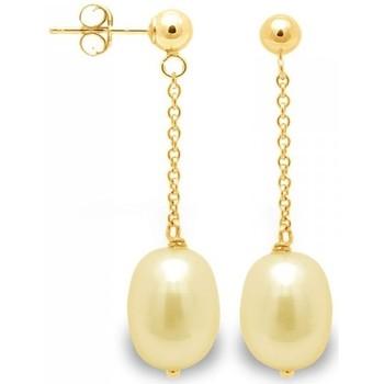 Montres & Bijoux Femme Boucles d'oreilles Blue Pearls Boucles d'Oreilles Pendantes Perles de Culture Dorées et or jaun Multicolore