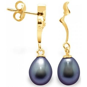 Montres & Bijoux Femme Boucles d'oreilles Blue Pearls Boucles d'Oreilles Pendantes Perles de Culture Noires et or jaun Multicolore