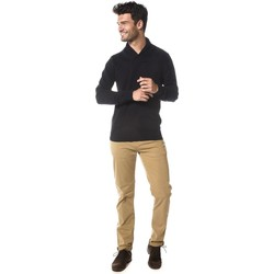 Vêtements Homme Polos manches longues Deeluxe Pull brodé col châle Shall bleumarine