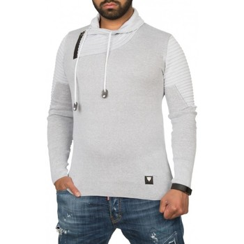 Pull Beststyle Pull en coton homme gris col chale classe