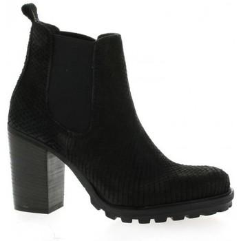 Chaussures Femme Boots Pao Boots cuir python Noir