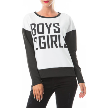 Vêtements Femme T-shirts manches courtes Noisy May Sweat Steve  Blanc Noir Blanc