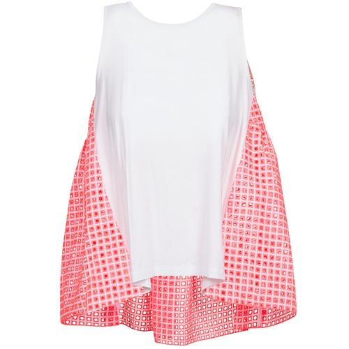 T-shirts & Polos Manoush AJOURE CARRE Blanc / Rose 350x350