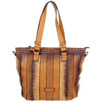 Sacs Femme Cabas / Sacs shopping Jacques Esterel Sac à main  shopping avec minis franges et effet vieilli Camel