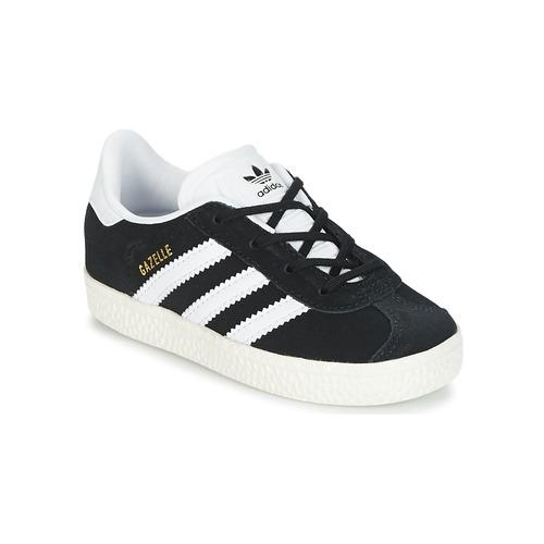 Chaussures Enfant Baskets basses adidas Originals GAZELLE I Noir / Blanc