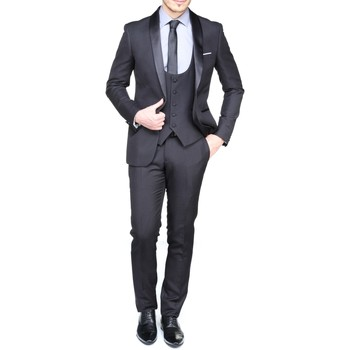 Vêtements Homme Costumes  Leader Mode Zc17-28 Col Chale 3 Piece 15 Black Noir