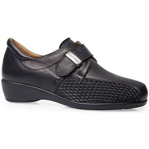 Chaussures Femme Derbies Calzamedi CHAUSSURES  STRETCH CUIR W NOIR