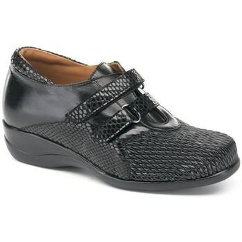 Chaussures Femme Derbies Calzamedi S  DRAGÓN TEXTURE DOBLE NOIR