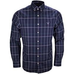 Vêtements Homme Chemises manches longues Gant Chemise à carreaux  bleu marine verte et blanche pour homme Bleu