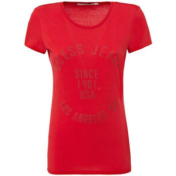 Vêtements Femme T-shirts manches courtes Guess T-Shirt Femme Circle Logo Rouge W73I62 Rouge